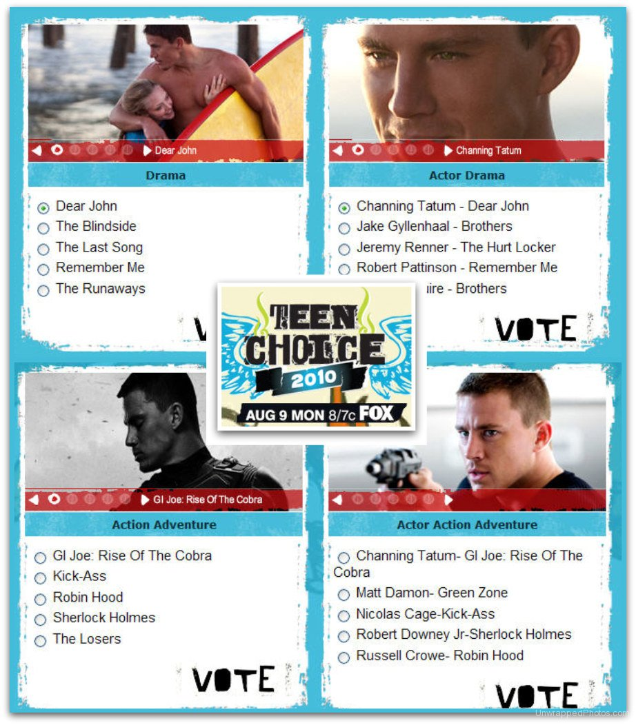 Vote for Channing Tatum in the 2010 Teen Choice Awards