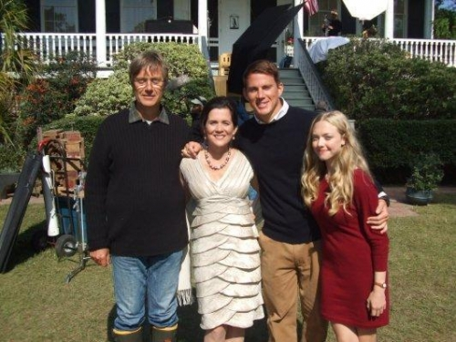 Channing Tatum, Amanda Seyfried, Lasse Hallstrom and Mary Rachel Dudley on the 'Dear John' set