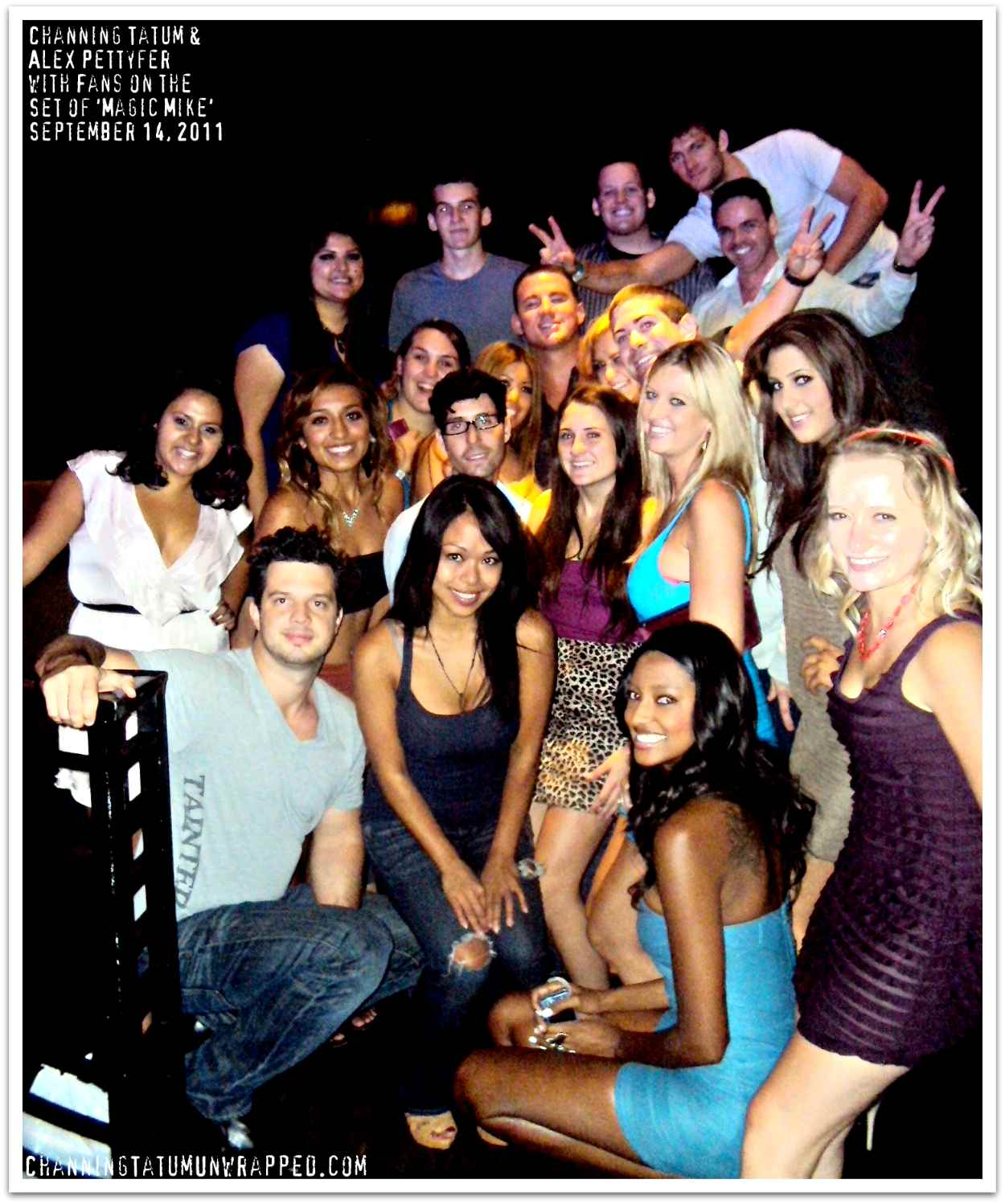 Channing Tatum and Alex Pettyfer with Fans on the Set of 'Magic Mike'