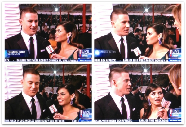 Channing Tatum and Jenna Dewan-Tatum on E! at the Golden Globes