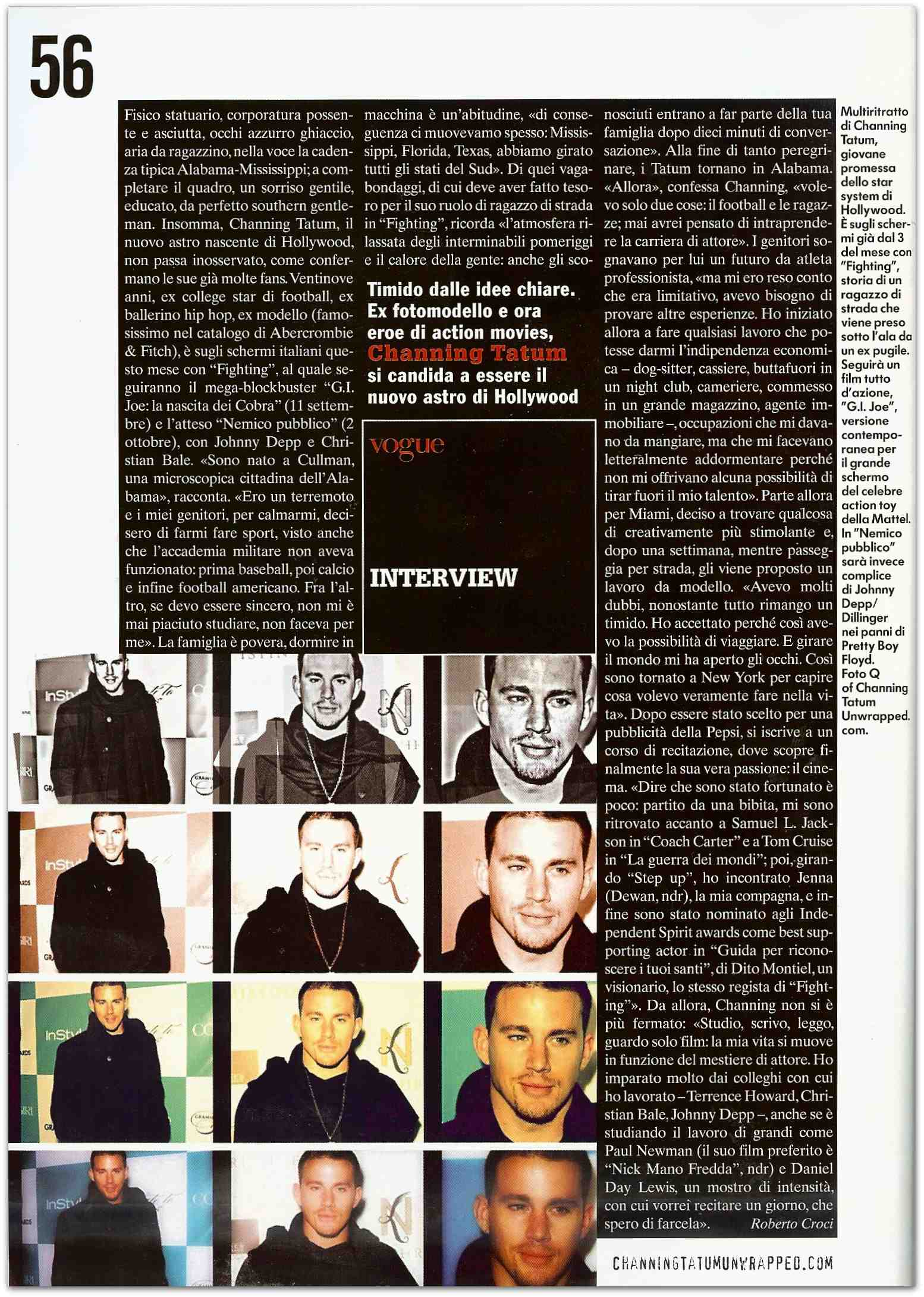 Channing Tatum Featured in July 2009 Vogue Italia (Article)