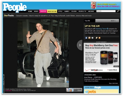 Channing Tatum and Jenna Dewan-Tatum Featured on People.com (12-22-09)