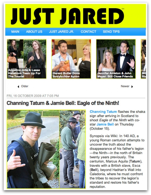 Channing Tatum in Scotland for 'Eagle of the Ninth' on JustJared.com (October 16, 2009)