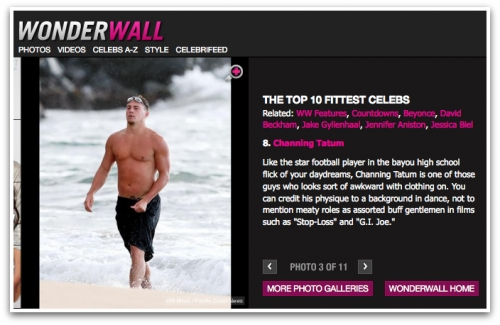 Channing Tatum Picked for Wonderwall's Top 10 Fittest Celebs