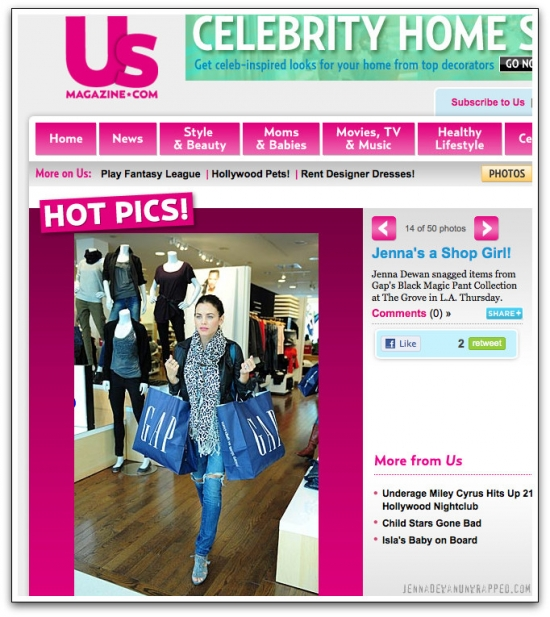 @JennalDewan Featured in @USWeekly - The Gap at LA's The Grove (OCT 7, 2010)