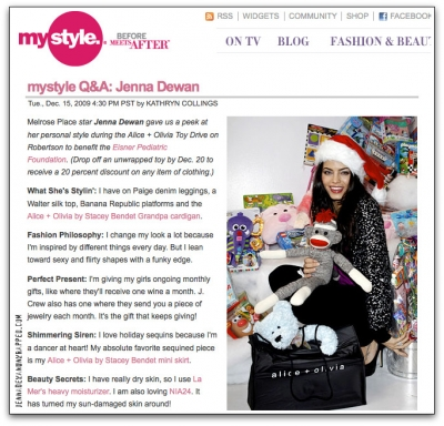 Jenna Dewan-Tatum Interview Featured on MyStyle.com (12-15-2009)