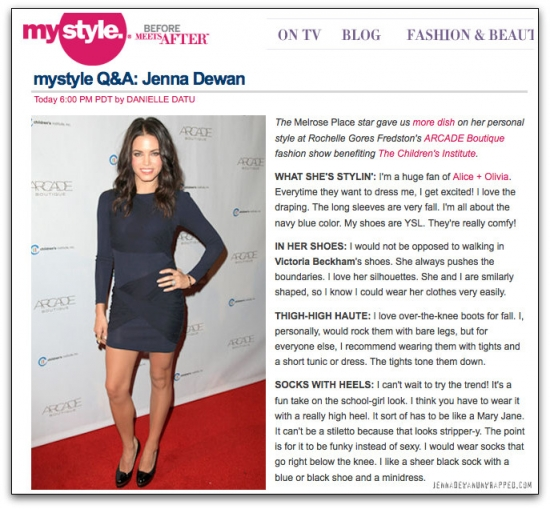@JennalDewan Q&A Featured on @MyStyle (OCT 5, 2010)