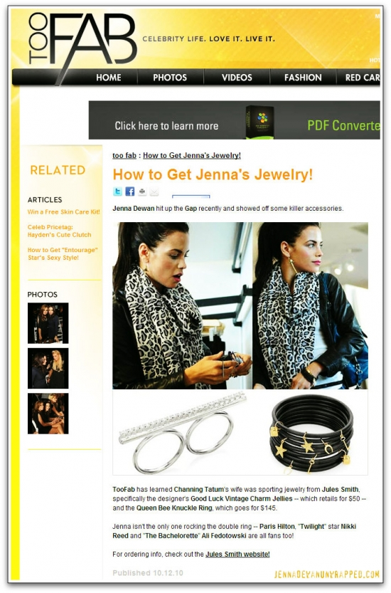 @JennalDewan Featured on @TooFab Shopping @GAP's Black Magic Collection (OCT 12, 2010)