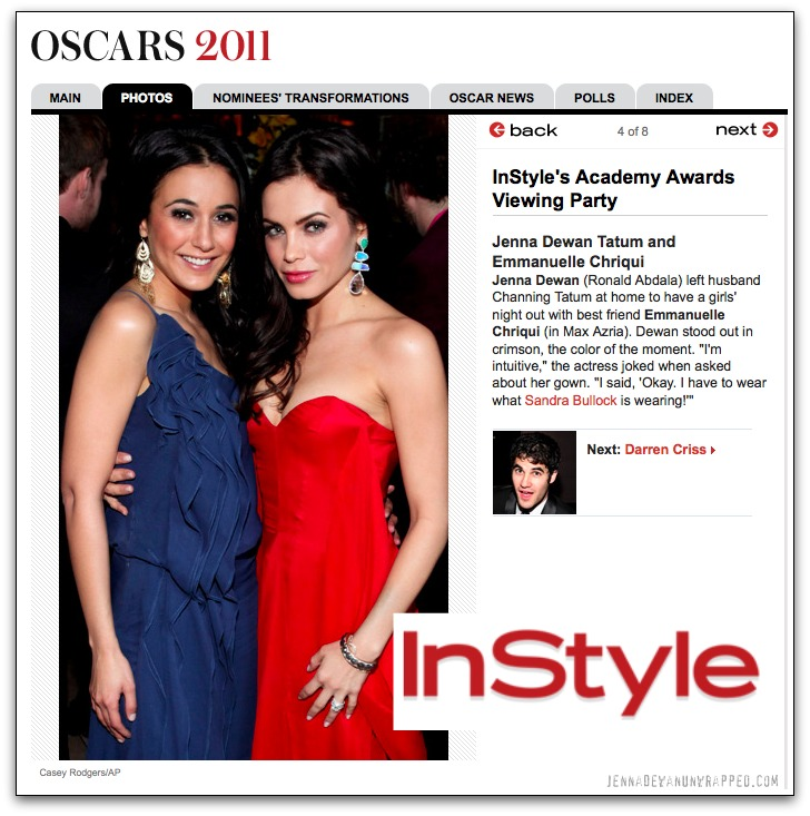 Jenna Dewan-Tatum and Emmanuelle Chriqui at InStyle's Academy Awards Viewing Party