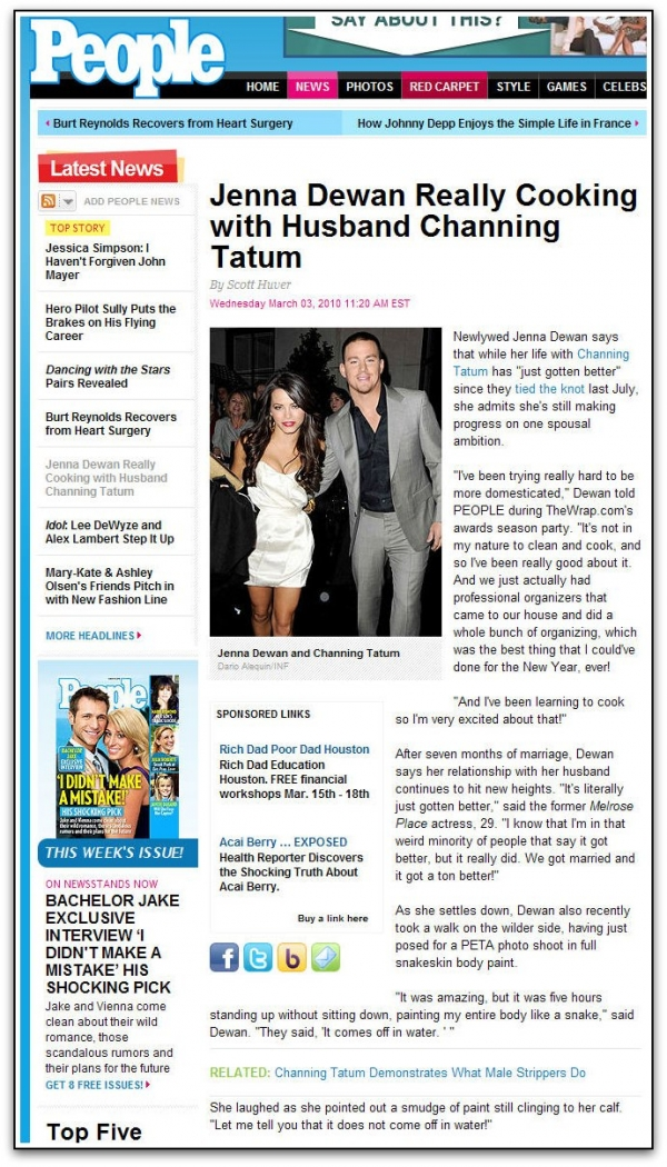 Jenna Dewan-Tatum Featured on People.com at TheWrap.com's Pre-Oscar Party